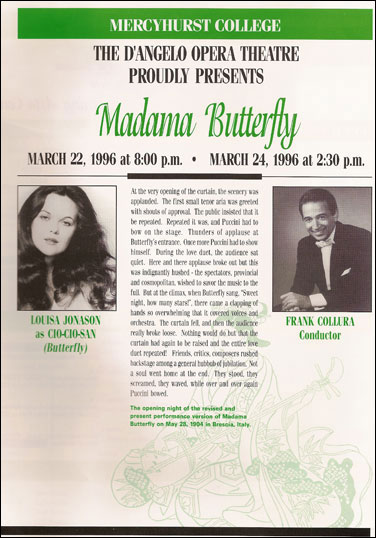 Program from Madama Butterfly at Mercyhurst